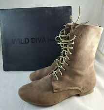 Wild Diva Lounge Mason - 31 Taupe Women's Faux Suede Mid Calf Lace Up Boots