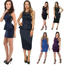 Womens Ladies Sexy Basic Peplum Bodycon Pencil Lace Sleeveless Work Office Dress
