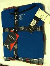 NWT  Nautica Mens Pajama Lounge Sleep Set Blue S/S Top White Plaid Pant (S,L,XL)