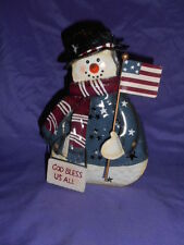 HOMCO HOME INTERIORS METAL SNOWMAN CANDLE HOLDER LANTERN GOD BLESS US ALL SIGN