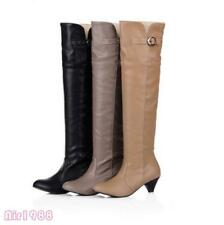 Ladies Buckle Low Heels Over The Knee High Pull on Boots New Womens Shoes Size