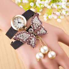 Butterfly Watch Women Dress Watches Women Rhinestone Watches Leather Strap Watch