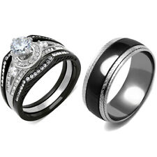 His Hers 4 PCS Black IP Stainless Steel CZ Wedding Ring Set/Mens Matching Band