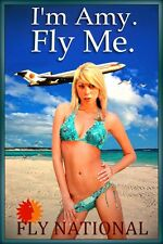I'm Amy Fly Me National Airlines Beach Poster Bikini Pin Up Art Print 269