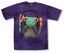 """THE MOUNTAIN """"TREE FROG W/ HEADPHONES"""" PURPLE TIE DYE T-SHIRT NEW OFFICIAL ADULT"""