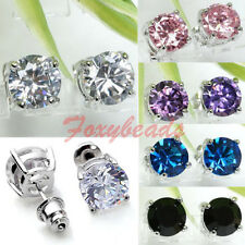 Pair Elegant Colorful Round Cubic Zirconia Zircon Copper Earring Ear Stud Gift