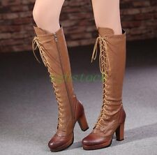 2016 Women's Real Leather Shoes High Block Heels Zip Lace Up Knee Boots US Size