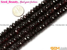 """AB Grade Natural Garnet Stone Spacer Beads Strand 15"""" Rondelle Faceted Jewelry"""