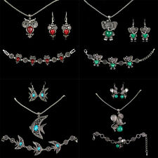 Any Style Women Turquoise Earrings Necklace Bracelets Silver Jewellery Set Kang