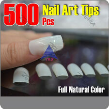 500 PCS Natural False Acrylic UV Gel Full Half French Nail Art Tips DIY Tools