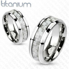 6mm Silver Carbon Fiber Inlay Center Band Ring Solid Titanium Women's Ring