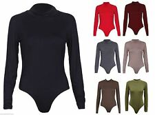 NEW WOMENS LADIES LONG SLEEVES TURTLE POLO NECK STRETCH PLAIN BODYSUIT TOP 8-14