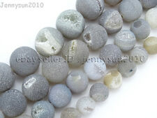 "Natural Druzy Quartz Matte Grey Agate Gemstone Round Beads 15.5"" 10mm 12mm 14mm"