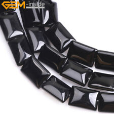 """Natural Stone Black Agate Beads For Jewelry Making 15"""" Rectangle Gemstone Beads"""
