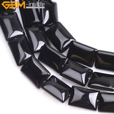 "Natural Stone Black Agate Beads For Jewelry Making 15"" Rectangle Gemstone Beads"