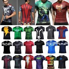 Mens Compression Marvel Superhero Costume Top Tee T-Shirts Jersey Cycling Shirts