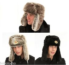 Brown, Black USSR Ushanka RUSSIAN STYLE TRAPPER Hat Fur XXL XL L M Mens Ladies