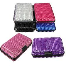 Artificial Crystal Pocket Business ID Credit Card Holder Case Wallet Aluminum