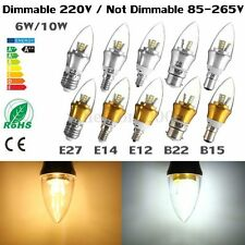 5x E12 E14 E27 B15 B22 Dimmable 6/10W LED SMD Chandelier Candle Light Lamp Bulb