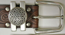 Brown Celtic Knot Embossed Real Leather Men's Jeans Belt 1.5″ Wide Irish Made