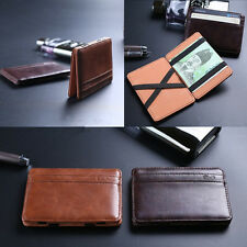 Creative Slim Leather Magic Money Clip Mens ID Credit Card Holder Case Wallet