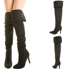 Black Slouchy Pointy Toe Foldable Cuff Stiletto Heel Over The Knee Thigh Boot US