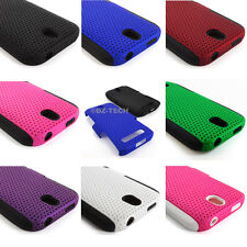 For HTC One SV LTE Boost Cricket APEX Hybrid Gel Perforated Hard Soft Case Cover
