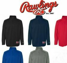 Rawlings - Mens S-3XL Dri fit, Baseball Warmup, Mesh Fleece, 1/4 ZIP Pullover