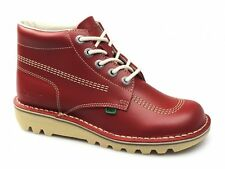 Kickers KICK HI M CORE Mens Womens Ladies Leather Casual Comfy Lace-Up Boots Red