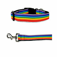 Rainbow Striped Nylon Dog Collar With Matching Leash