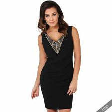 Womens Low Cut Jewelled Plunging V Neck Open Back Bodycon Mini Dress Party Club