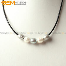 9-10mm Freshwater Pearls Strand With Adjustable Black Rope Necklace 17.5""