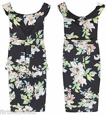 Womens Dresses Off Shoulder Dress KIM Floral Printed Bodycon Ladies Peplum Midi