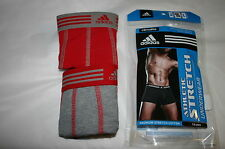 2 MENS ADIDAS TRUNKS CLIMALITE ATHLETIC STRETCH RED & GRAY LARGE XL MEDIUM NWT