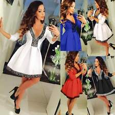 Womens Sexy Deep V Neck Floral Skirt Dress Lace Skater Ladies Party Mini Dress