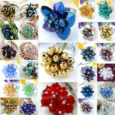 1X Adjustable Crystal Glass Beads Flower Finger Ring us6/7.5 Unisex Jewelry Gift