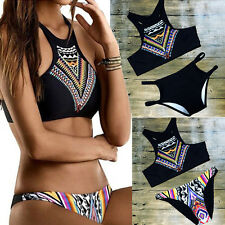 Sexy Women Push Up Padded Top Bikini Set High Neck Floral Swimwear Swimsuit GS
