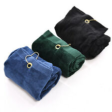 40x60cm Golf Tri-Fold Towel With Carabiner Clip Sport Hiking Cotton Cool WB