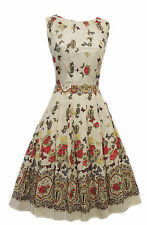 New Vtg 1940's 1950's Novelty Butterfly Floral Classic Border Print Tea Dress