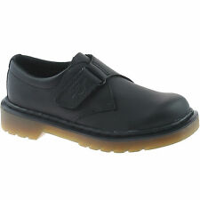 BOYS KIDS DR MARTENS JERRY BLACK LEATHER LIGHTWEIGHT VELCRO SCHOOL SHOES