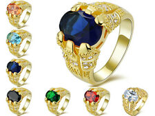 Oval Cut Size 8,9,10,11,12 Sapphire Emerald 18K Gold Filled Mens Wedding Rings