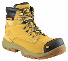 CAT Caterpillar Spiro Safety Mens Honey Leather Steel Toe Cap Work Boots UK6-12