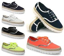 BRAND NEW LADIES WOMENS GIRLS CASUAL CANVAS LACE UP PLIMSOLLS FLAT TRAINERS