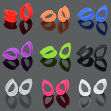 Pair Ear Gauges-Ear Plugs-Flesh Tunnel Silicone Flexible Teardrop Flared Stylsh