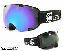 TWO-X Air Ski Goggles Snowboard Goggles Frameless Glasses black blue mirrored