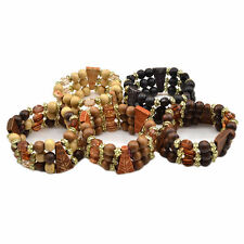 3 Layers Carved Wooden Beads Multilayer Beaded Elastic Bracelet Bangle Random