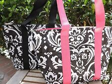 """Black White Pink DAMASK INSULATED TOTE Thermal Lunch Bag Travel Shopping 10x15"""""""