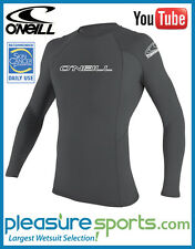 O'Neill Skins Men's Rashguard Long Sleeve Basic Skins 50+ UV Protection Smoke