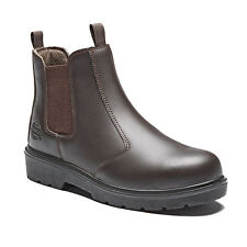 MENS DICKIES DEALER SAFETY WORK BOOTS BROWN 6 - 12 STEEL TOE LEATHER FA23345