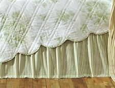 GREEN WHITE TICKING STRIPE Twin Queen or King BED SKIRT : DUST RUFFLE BEDSKIRT
